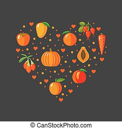 Heart shape with orange fruits and vegetables