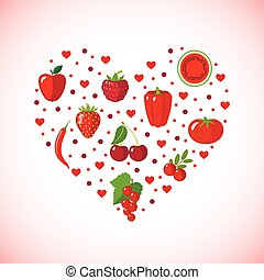Heart shape with red fruits and vegetables