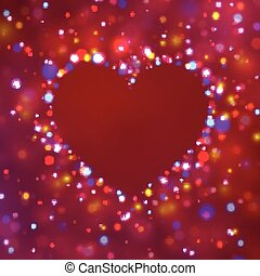 Heart shape with sparkles. Glitter vector background.