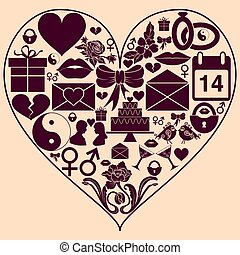 Heart shape with St. Valentine Day icons. Background to the...