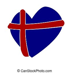 Heart shape with the flag of Iceland
