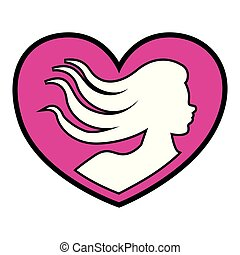 Heart shape with woman silhouette