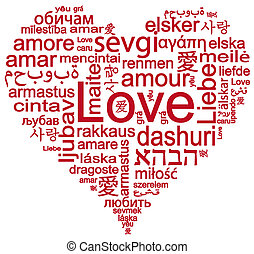 Heart shape with words of love - World languages of word...