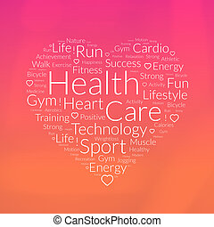 Heart shape word cloud about health care