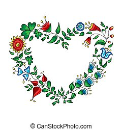 Heart shape wreath made from colorful flowers on white background.