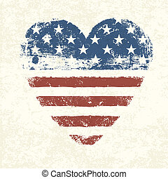 Heart shaped american flag. Vector, EPS10