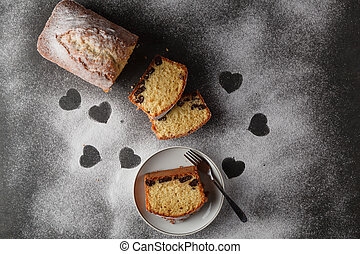 Heart shaped and cake. Stolen love.