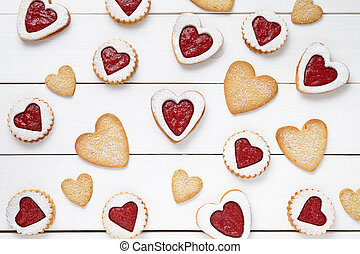 Heart shaped and shortbread cookies with jam gift ...