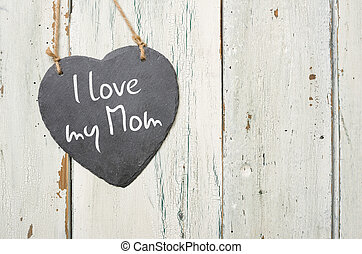 heart-shaped, ardósia, sinal, com, a, inscrição, i, amor, meu, mãe