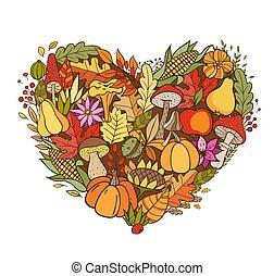 Heart shaped autumn background