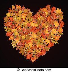 Heart shaped autumn leaves