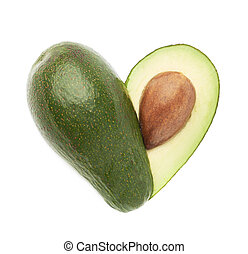 Heart shaped avocado fruit composition