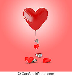 heart shaped balloon with small hearts on a pink background - 3