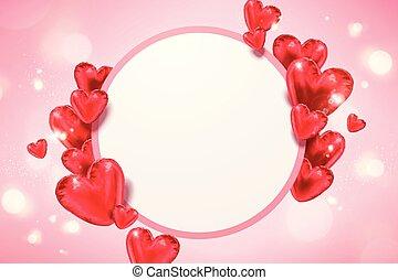 Heart shaped balloons card