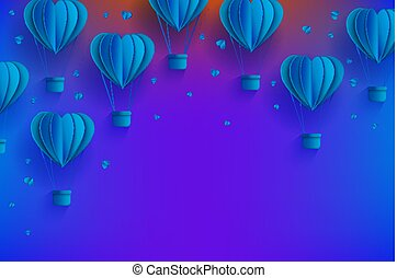 Heart shaped blue hot air balloons in trendy paper art style on gradient background