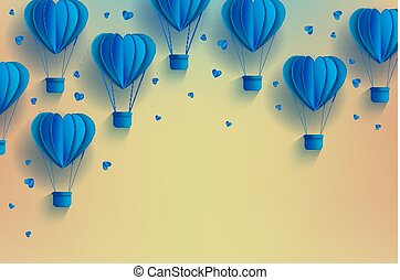 Heart shaped blue hot air balloons in trendy paper art style on pastel gradient background.