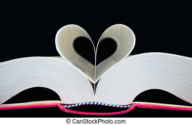 book - heart shaped book - love concept photo