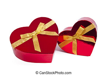 heart shaped box with bow isolated