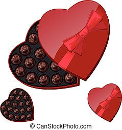 Heart-shaped box with chocolates