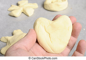 Heart-shaped Bread dough for baking