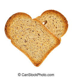 heart-shaped bread rusks - a couple of bread rusks forming a...