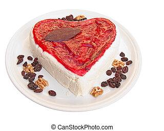 Heart shaped cake isolated on white