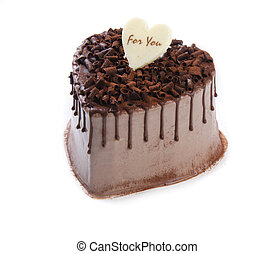 Heart Shaped Cake on white background