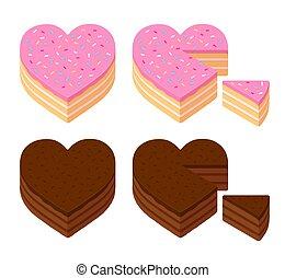 Heart shaped cake set
