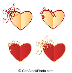 Heart shaped cards with bows