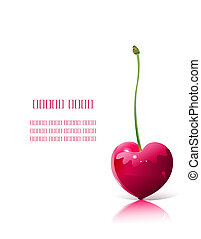 Ripe red heart-shaped cherry isolated over white background