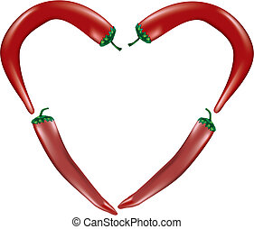 Vector of chilli peppers forming a heart shape