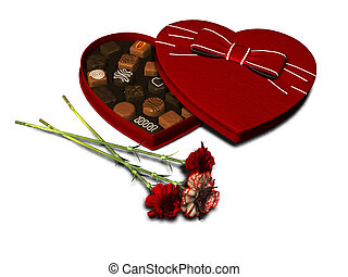 Heart shaped chocolate box and three red carnations.