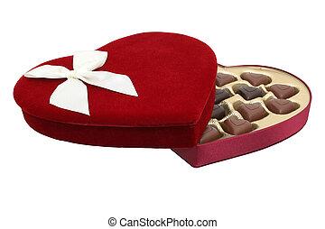 Heart Shaped Chocolates - Deep red velvet heart shaped box...