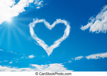 Heart Shaped Cloud In Blue Sky - Low angle view of heart...