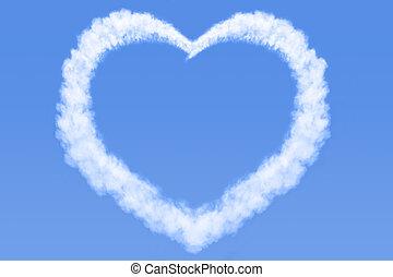 Heart shaped cloud in blue sky - A heart shaped cloud in a...