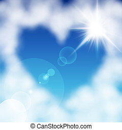 Heart shaped cloud in the blue sky. Valentine`s day...