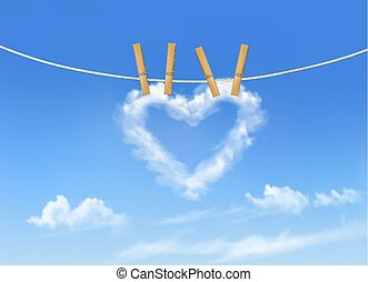 Heart shaped cloud on rope. Nature beautiful background. Vector