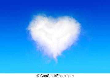 Heart Shaped Cloud on the blue sky