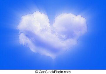 Heart shaped cloud - An image of heart shaped cloud on blue