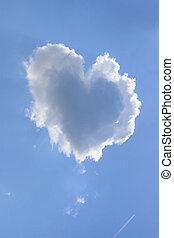 Heart Shaped Cloud - Naturally heart shaped cloud in a blue...