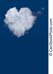 Heart shaped cloud isolated on blue sky