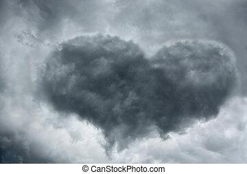 Heart-shaped cloud - Heart shaped cloud on stormy sky