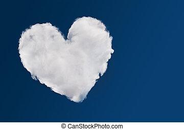 Heart shaped cloud, symbol of love