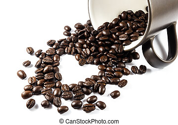 Heart shaped coffee beans from cup