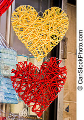 Heart shaped colorful decorative objects