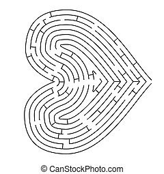 Heart shaped complicated maze, black silhouette on white