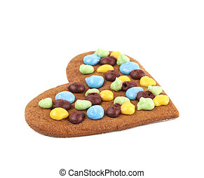 Heart shaped cookie isolated