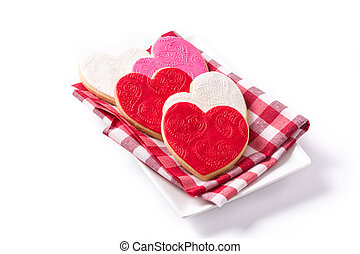 Heart-shaped cookies for Valentine's Day isolated on white background.
