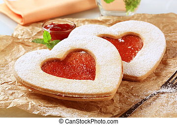 Heart shaped cookies - Heart shaped shortbread cookies with...