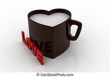 Heart shaped cups with love